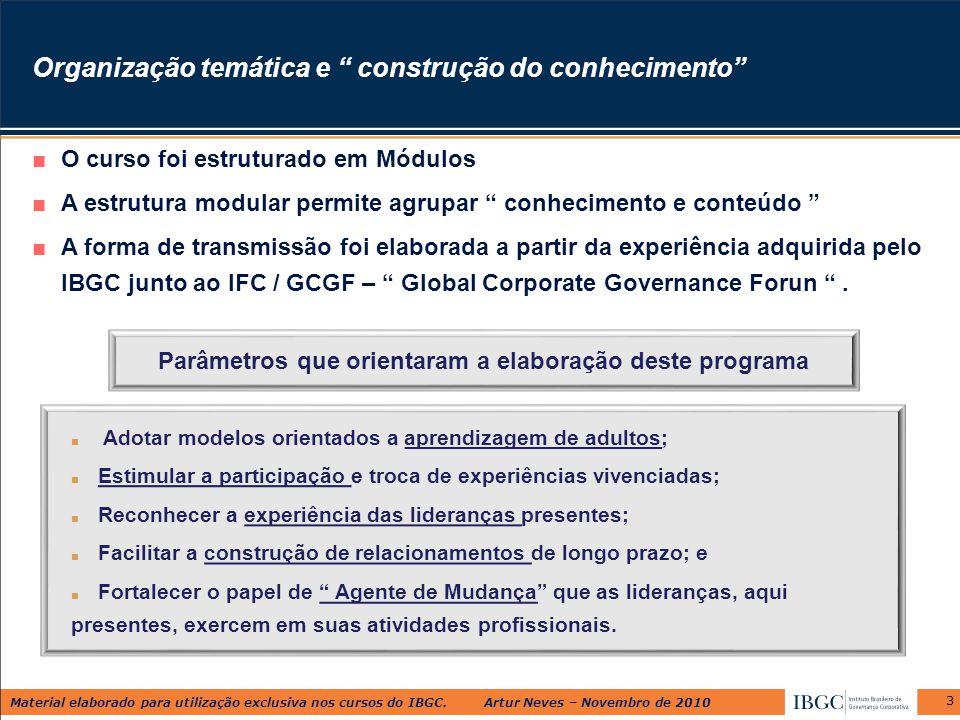 """Material elaborado para utilização exclusiva nos cursos do IBGC. Artur Neves – Novembro de 2010 3 Organização temática e """" construção do conhecimento"""""""
