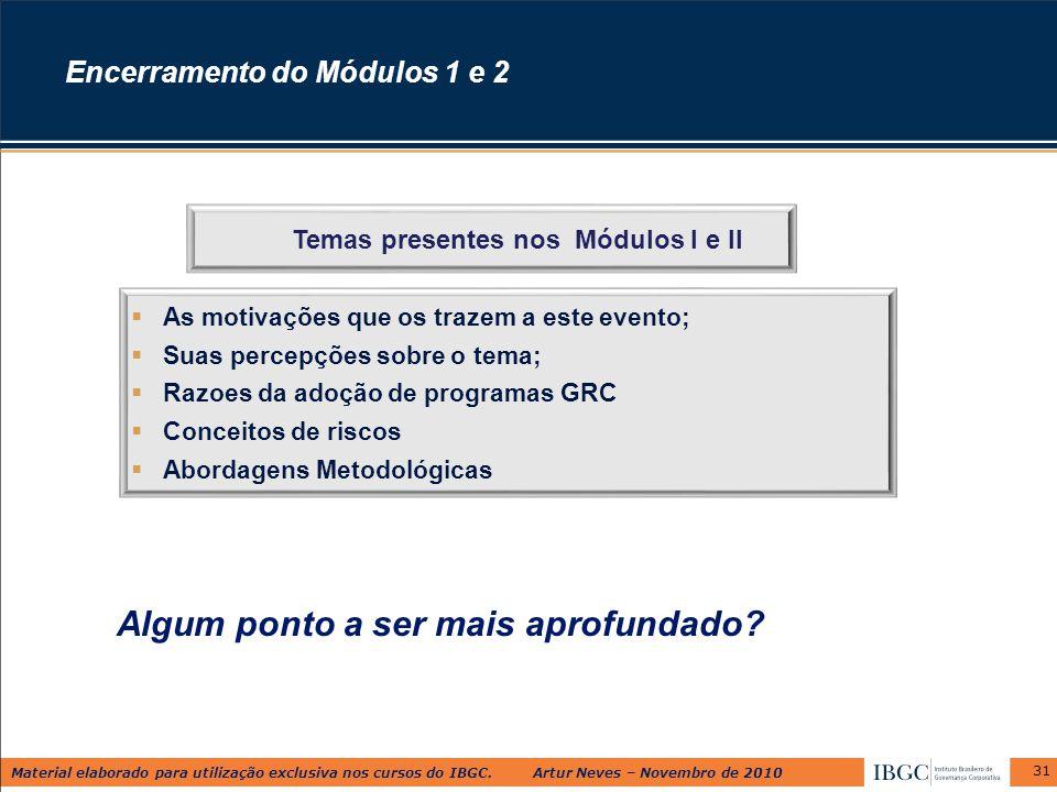 Material elaborado para utilização exclusiva nos cursos do IBGC. Artur Neves – Novembro de 2010 Algum ponto a ser mais aprofundado? 31  As motivações
