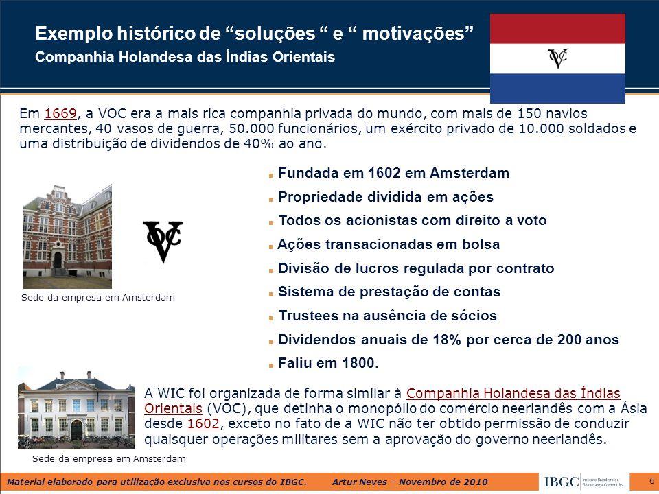 Material elaborado para utilização exclusiva nos cursos do IBGC. Artur Neves – Novembro de 2010 6 ■ Fundada em 1602 em Amsterdam ■ Propriedade dividid
