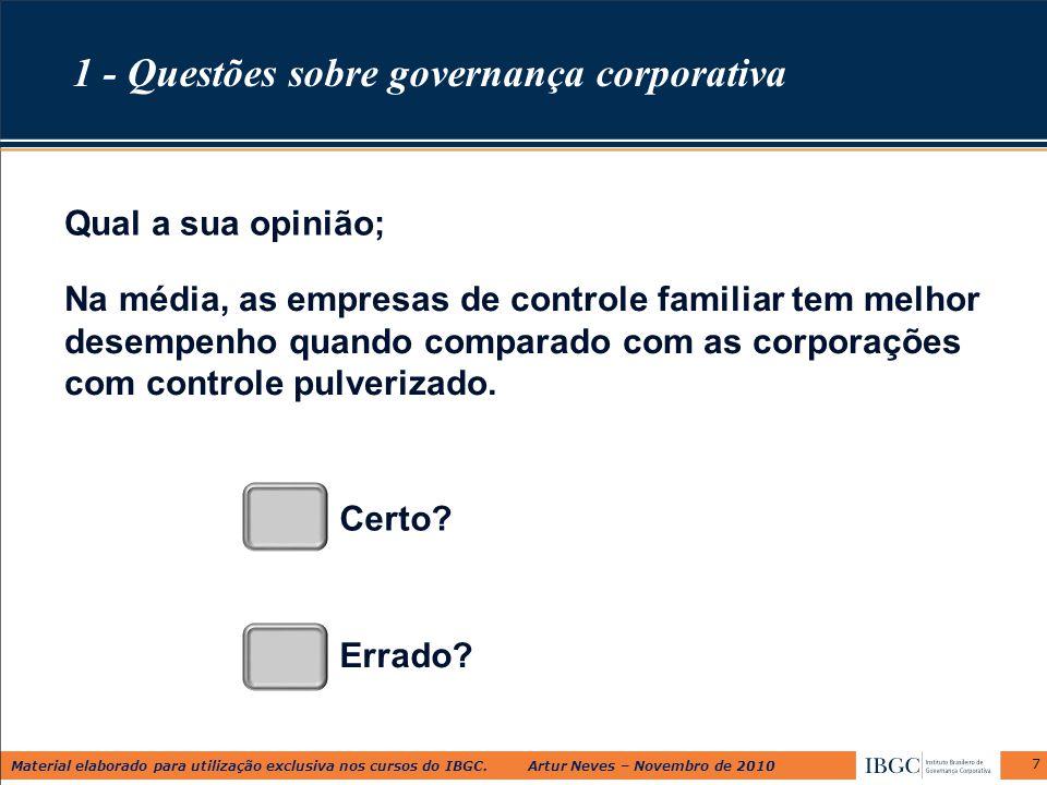 Material elaborado para utilização exclusiva nos cursos do IBGC. Artur Neves – Novembro de 2010 Na média, as empresas de controle familiar tem melhor