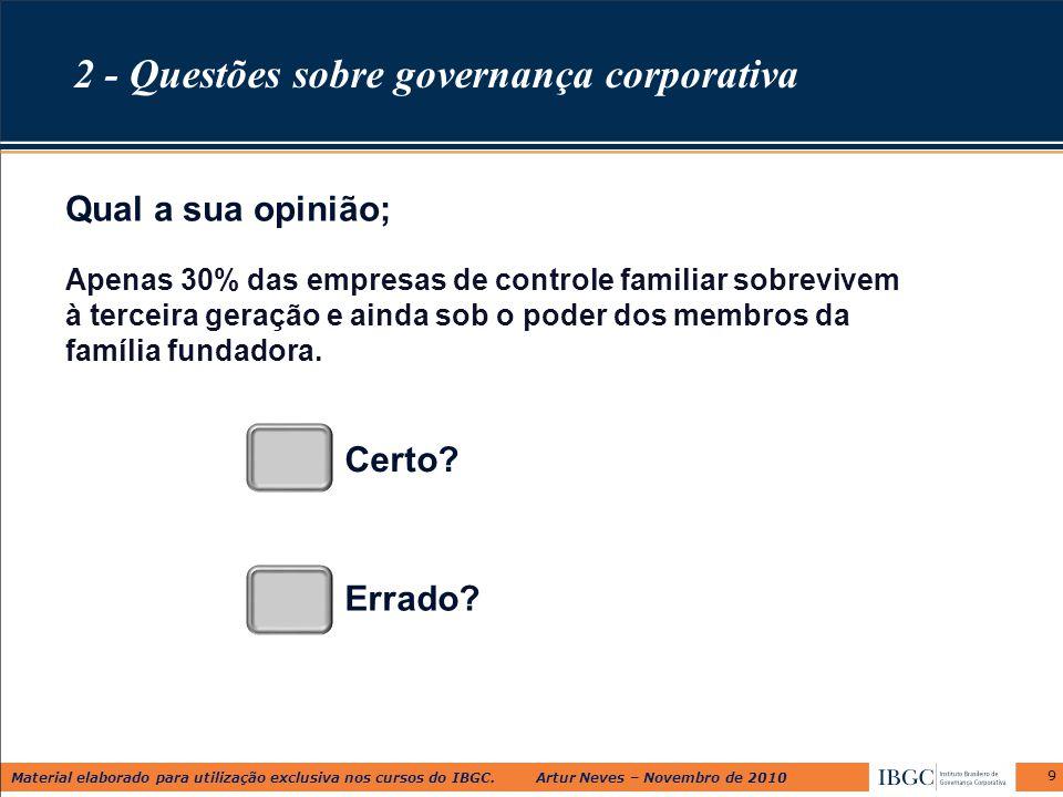 Material elaborado para utilização exclusiva nos cursos do IBGC. Artur Neves – Novembro de 2010 9 Apenas 30% das empresas de controle familiar sobrevi