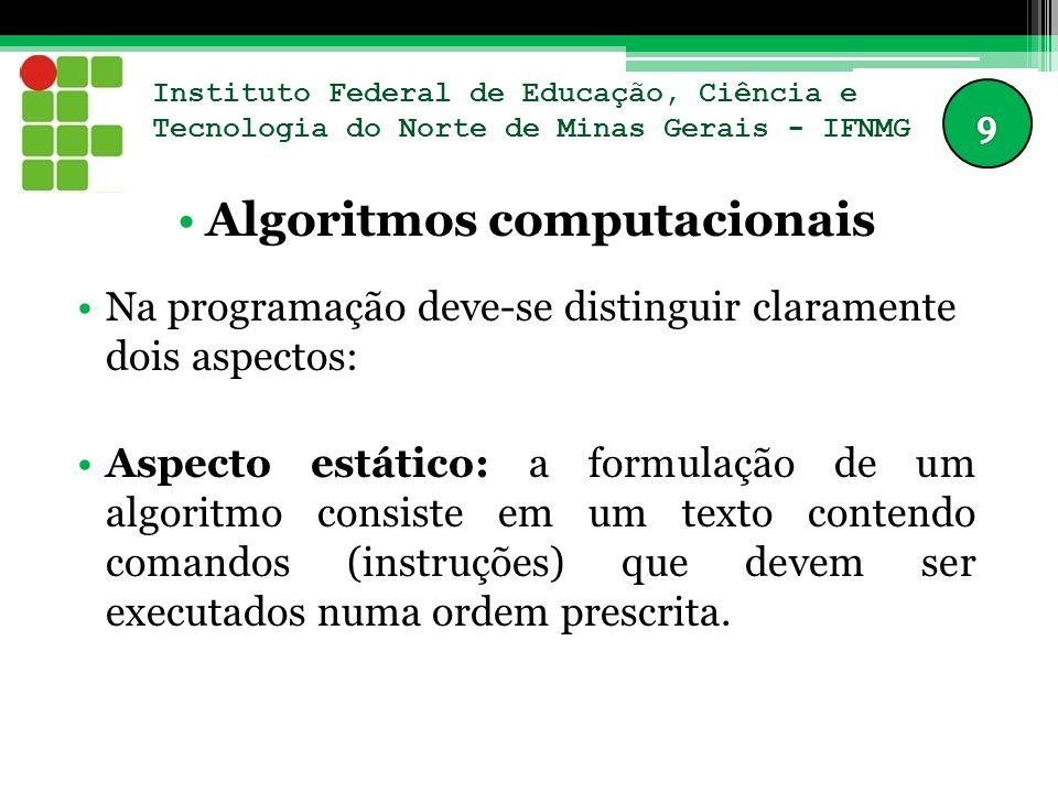 Instituto Federal de Educação, Ciência e Tecnologia do Norte de Minas Gerais - IFNMG Algoritmos computacionais Na programação deve-se distinguir clara
