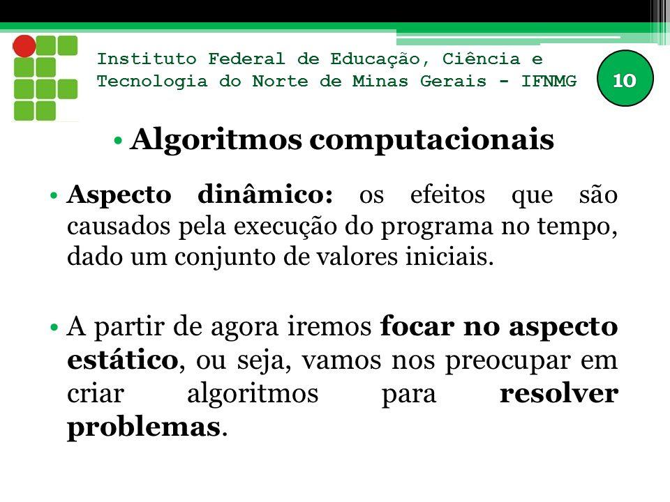 Instituto Federal de Educação, Ciência e Tecnologia do Norte de Minas Gerais - IFNMG Algoritmos computacionais Aspecto dinâmico: os efeitos que são ca