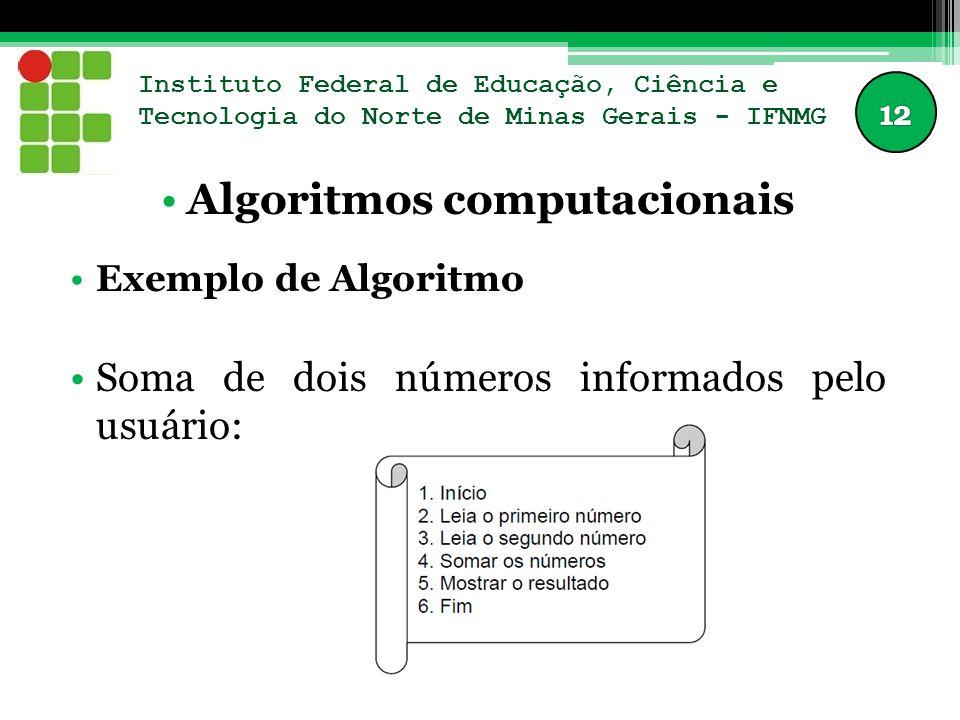 Instituto Federal de Educação, Ciência e Tecnologia do Norte de Minas Gerais - IFNMG Algoritmos computacionais Exemplo de Algoritmo Soma de dois númer