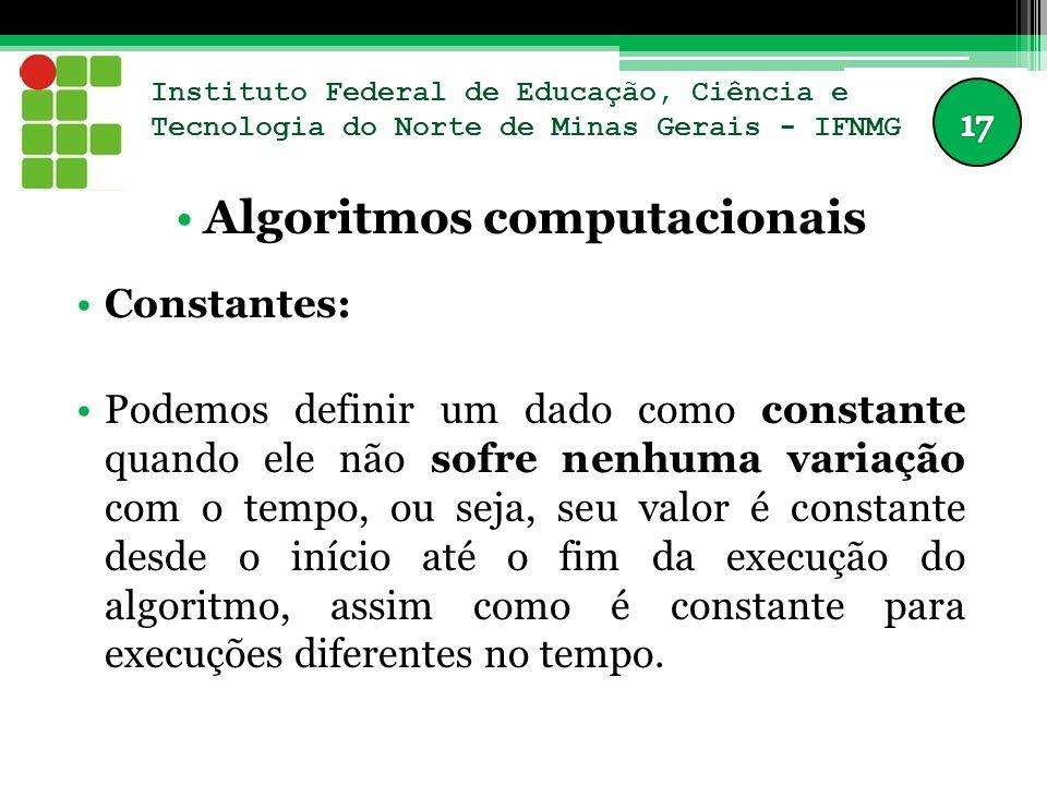 Instituto Federal de Educação, Ciência e Tecnologia do Norte de Minas Gerais - IFNMG Algoritmos computacionais Constantes: Podemos definir um dado com