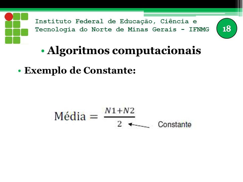 Instituto Federal de Educação, Ciência e Tecnologia do Norte de Minas Gerais - IFNMG Algoritmos computacionais Exemplo de Constante: