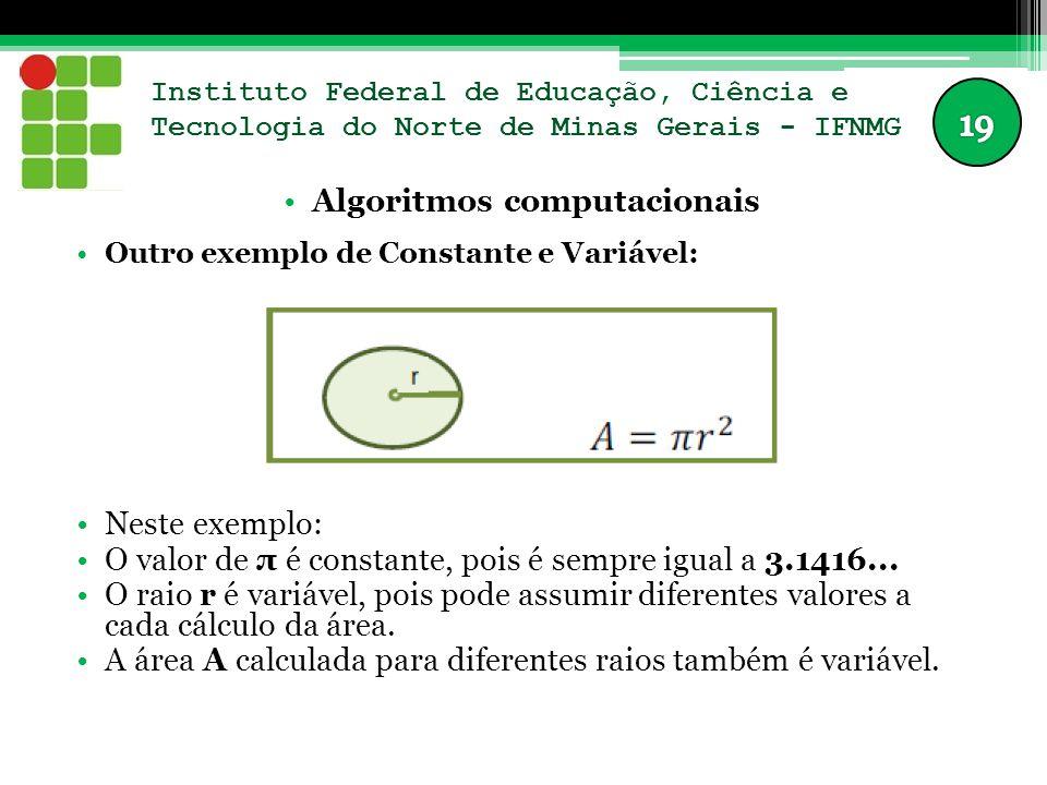 Instituto Federal de Educação, Ciência e Tecnologia do Norte de Minas Gerais - IFNMG Algoritmos computacionais Outro exemplo de Constante e Variável: