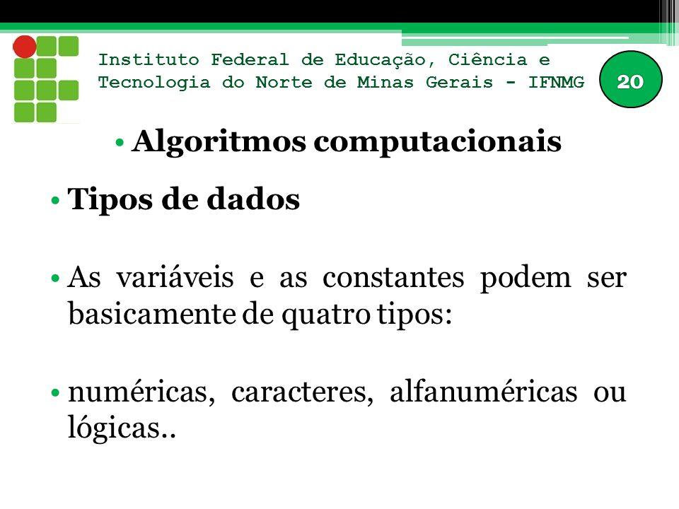 Instituto Federal de Educação, Ciência e Tecnologia do Norte de Minas Gerais - IFNMG Algoritmos computacionais Tipos de dados As variáveis e as constantes podem ser basicamente de quatro tipos: numéricas, caracteres, alfanuméricas ou lógicas..