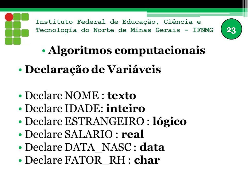 Instituto Federal de Educação, Ciência e Tecnologia do Norte de Minas Gerais - IFNMG Algoritmos computacionais Declaração de Variáveis Declare NOME :
