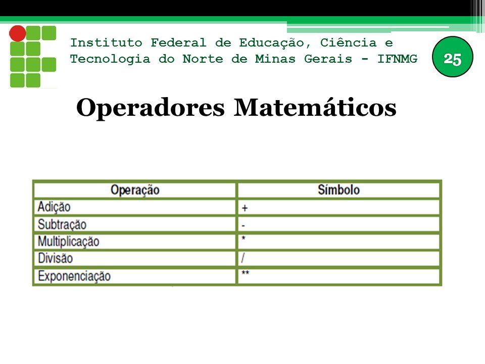 Instituto Federal de Educação, Ciência e Tecnologia do Norte de Minas Gerais - IFNMG Operadores Matemáticos