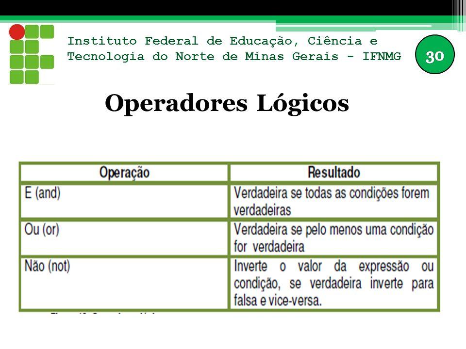 Instituto Federal de Educação, Ciência e Tecnologia do Norte de Minas Gerais - IFNMG Operadores Lógicos