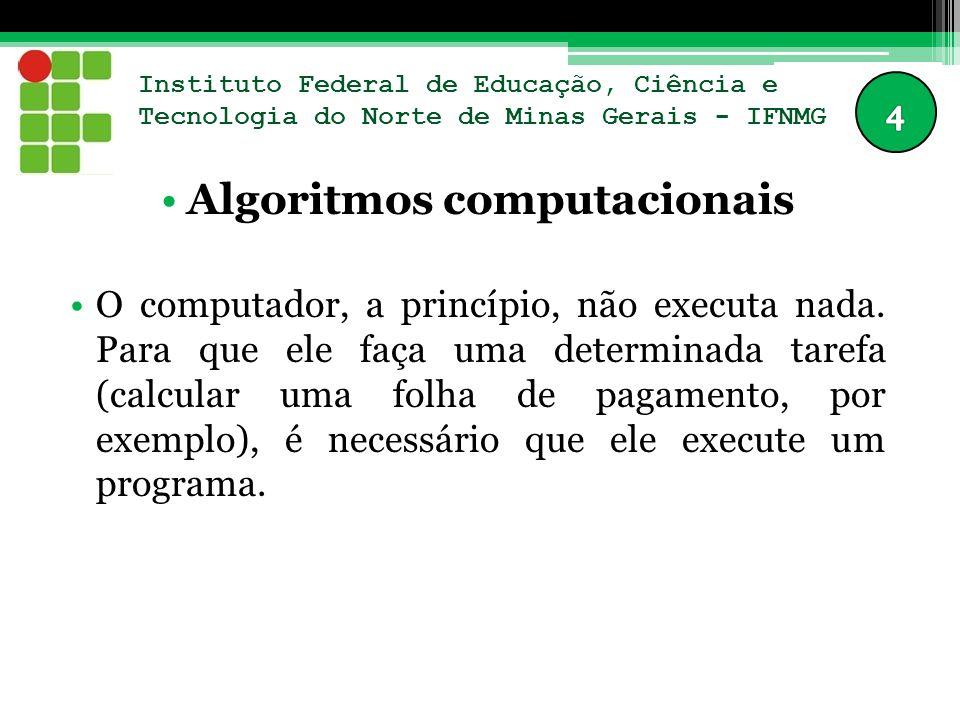 Instituto Federal de Educação, Ciência e Tecnologia do Norte de Minas Gerais - IFNMG Algoritmos computacionais O computador, a princípio, não executa