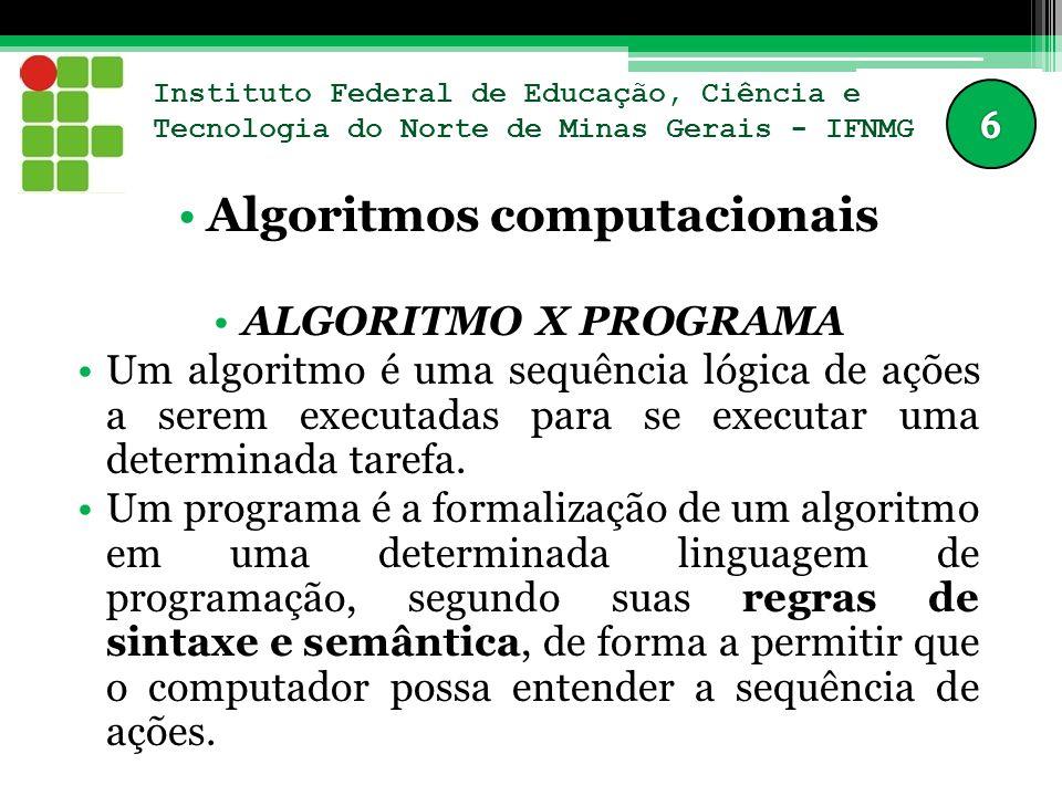 Instituto Federal de Educação, Ciência e Tecnologia do Norte de Minas Gerais - IFNMG Algoritmos computacionais ALGORITMO X PROGRAMA Um algoritmo é uma