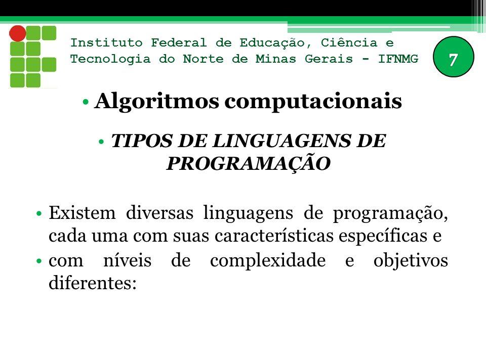 Instituto Federal de Educação, Ciência e Tecnologia do Norte de Minas Gerais - IFNMG Algoritmos computacionais TIPOS DE LINGUAGENS DE PROGRAMAÇÃO Exis