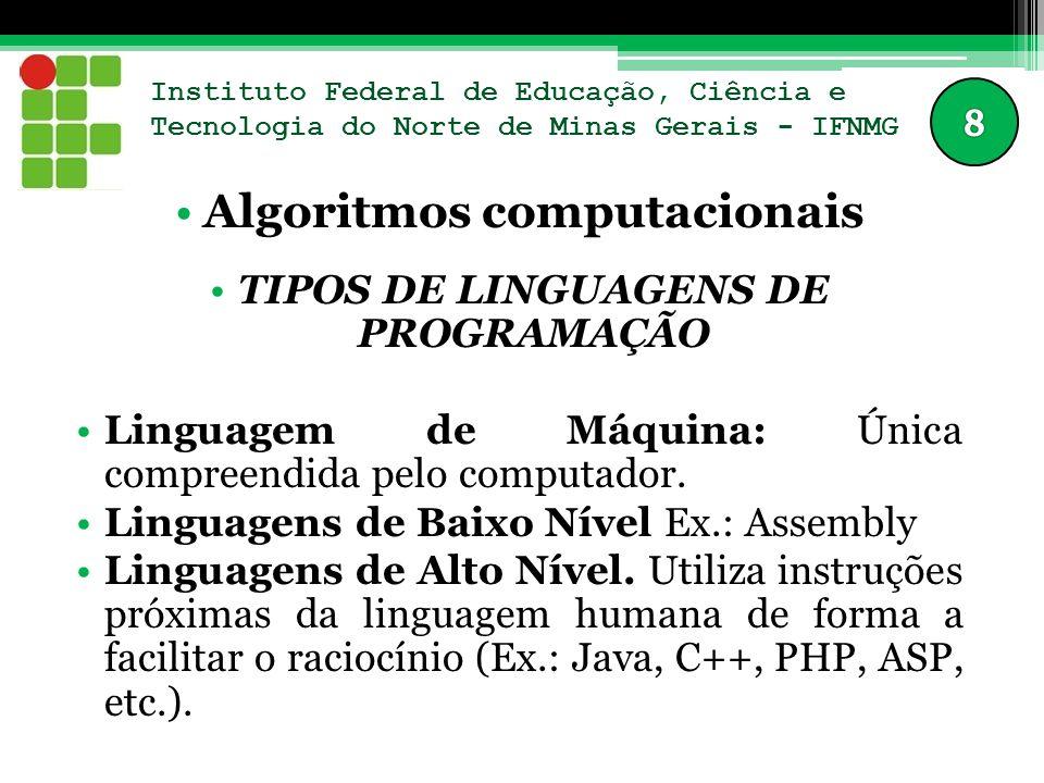 Instituto Federal de Educação, Ciência e Tecnologia do Norte de Minas Gerais - IFNMG Algoritmos computacionais TIPOS DE LINGUAGENS DE PROGRAMAÇÃO Linguagem de Máquina: Única compreendida pelo computador.