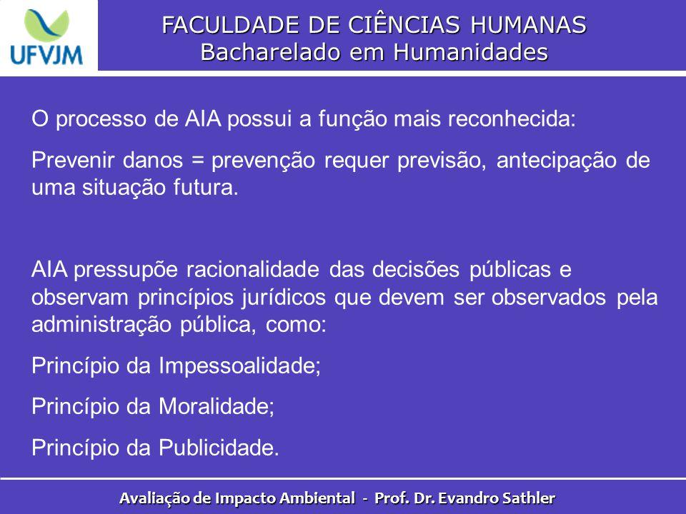 FACULDADE DE CIÊNCIAS HUMANAS Bacharelado em Humanidades Avaliação de Impacto Ambiental - Prof. Dr. Evandro Sathler O processo de AIA possui a função