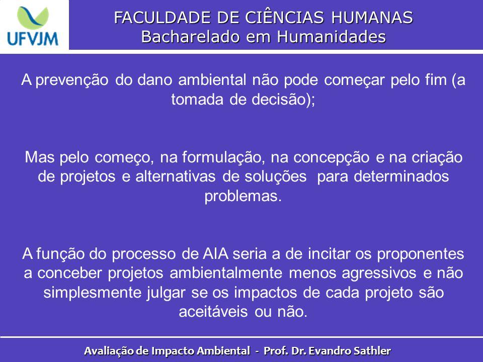 FACULDADE DE CIÊNCIAS HUMANAS Bacharelado em Humanidades Avaliação de Impacto Ambiental - Prof. Dr. Evandro Sathler A prevenção do dano ambiental não
