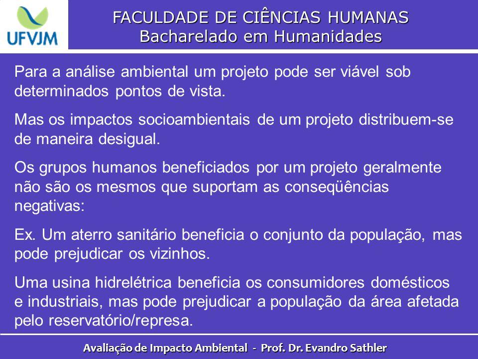 FACULDADE DE CIÊNCIAS HUMANAS Bacharelado em Humanidades Avaliação de Impacto Ambiental - Prof. Dr. Evandro Sathler Para a análise ambiental um projet