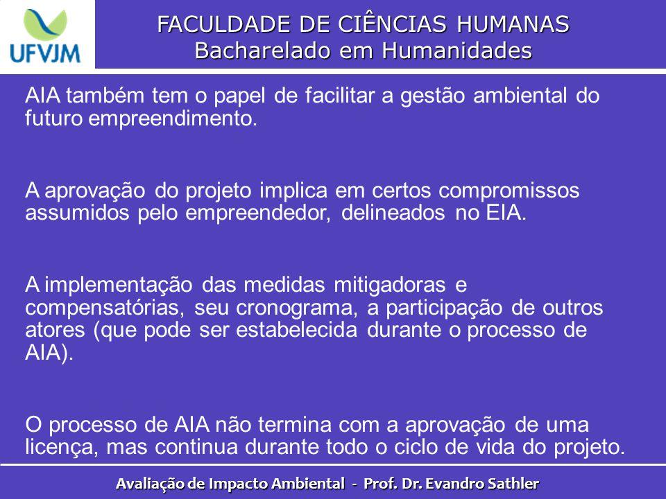 FACULDADE DE CIÊNCIAS HUMANAS Bacharelado em Humanidades Avaliação de Impacto Ambiental - Prof. Dr. Evandro Sathler AIA também tem o papel de facilita