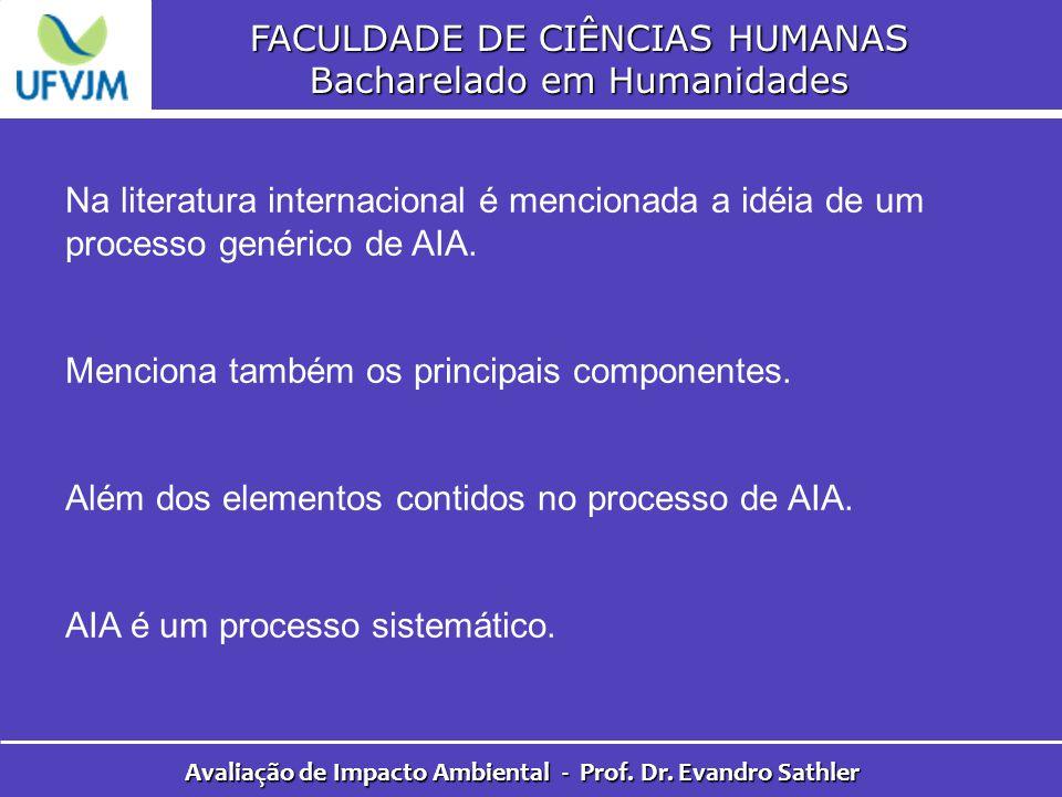 FACULDADE DE CIÊNCIAS HUMANAS Bacharelado em Humanidades Avaliação de Impacto Ambiental - Prof. Dr. Evandro Sathler Na literatura internacional é menc
