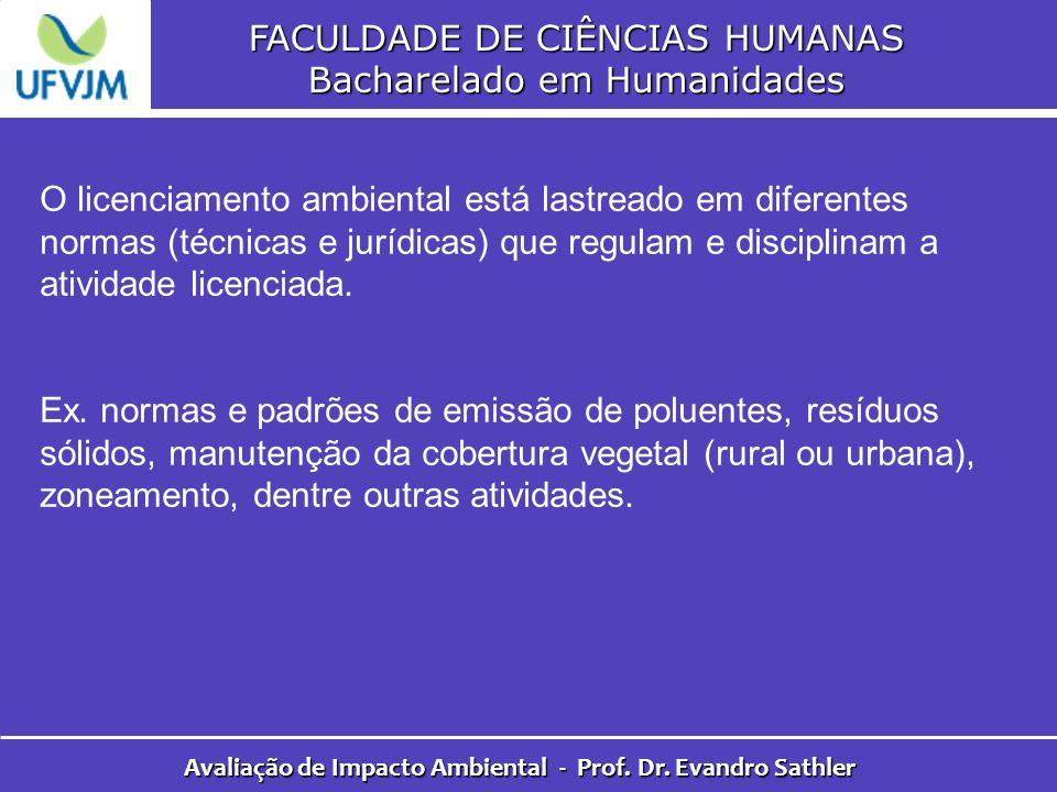 FACULDADE DE CIÊNCIAS HUMANAS Bacharelado em Humanidades Avaliação de Impacto Ambiental - Prof. Dr. Evandro Sathler O licenciamento ambiental está las