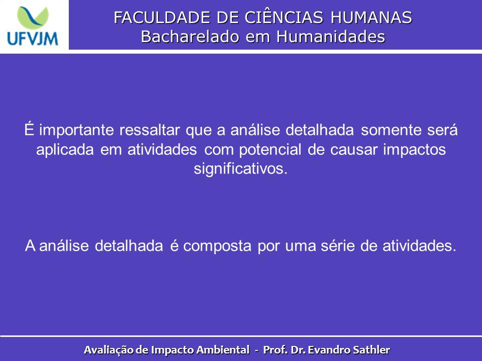 FACULDADE DE CIÊNCIAS HUMANAS Bacharelado em Humanidades Avaliação de Impacto Ambiental - Prof. Dr. Evandro Sathler É importante ressaltar que a análi