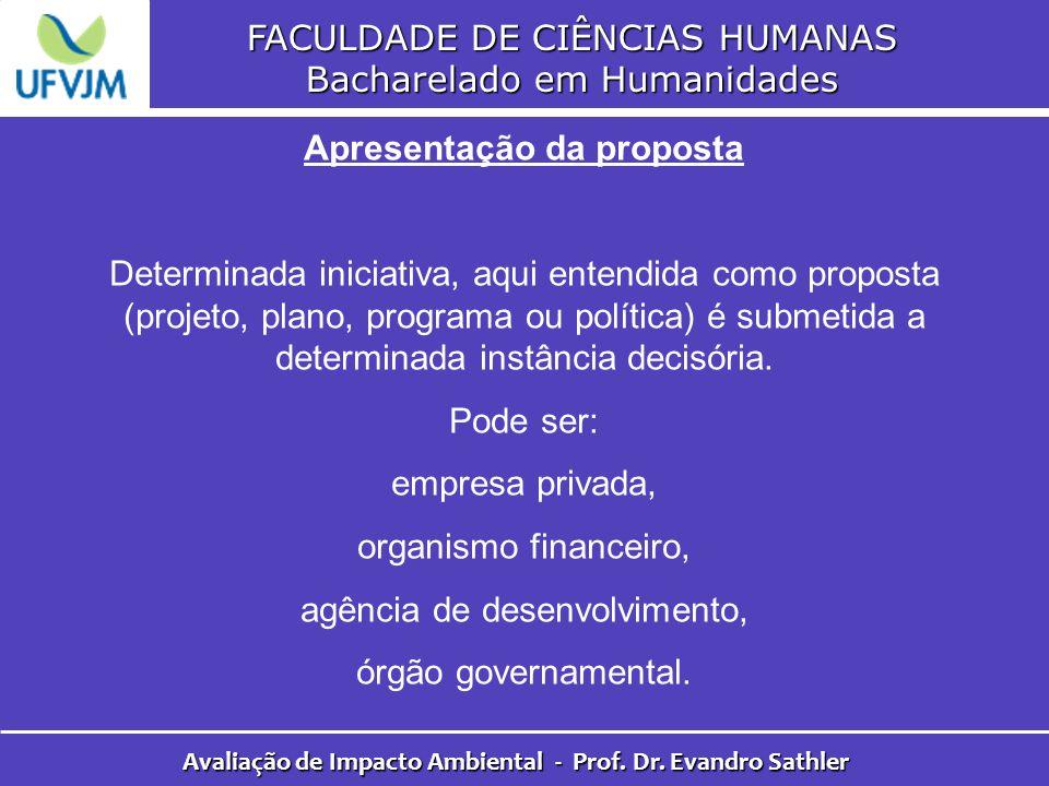 FACULDADE DE CIÊNCIAS HUMANAS Bacharelado em Humanidades Avaliação de Impacto Ambiental - Prof. Dr. Evandro Sathler Apresentação da proposta Determina