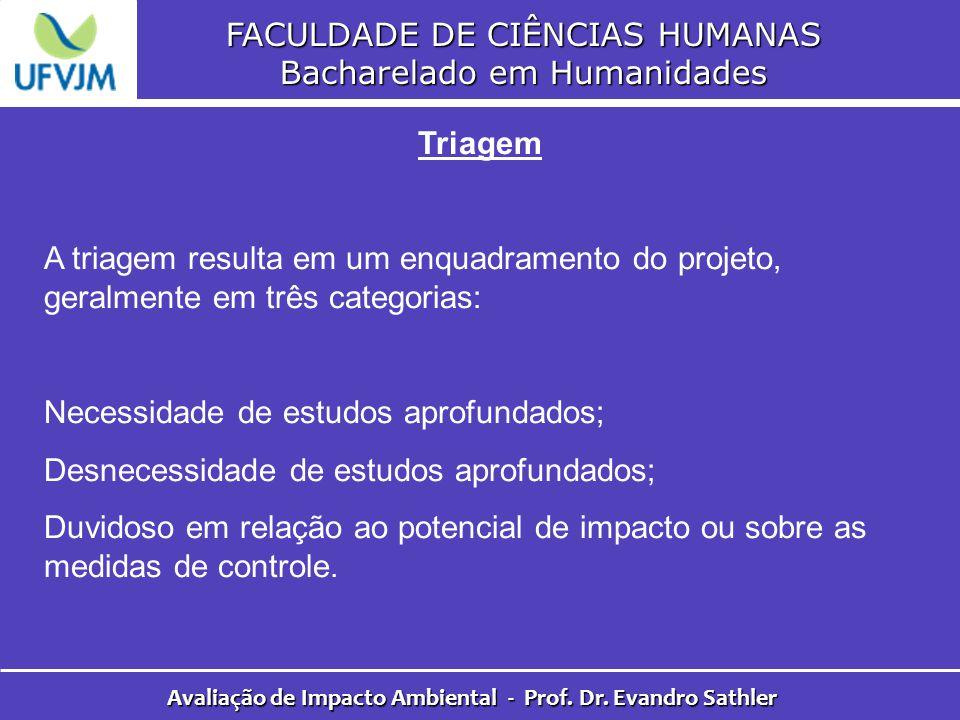 FACULDADE DE CIÊNCIAS HUMANAS Bacharelado em Humanidades Avaliação de Impacto Ambiental - Prof. Dr. Evandro Sathler Triagem A triagem resulta em um en
