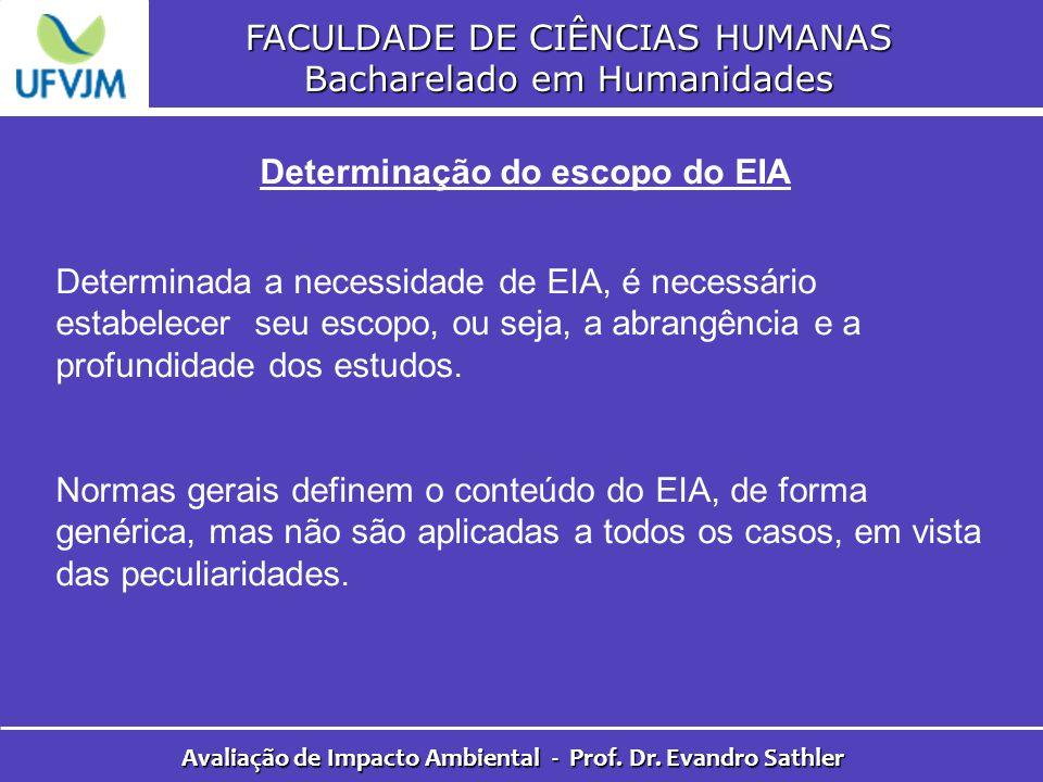 FACULDADE DE CIÊNCIAS HUMANAS Bacharelado em Humanidades Avaliação de Impacto Ambiental - Prof. Dr. Evandro Sathler Determinação do escopo do EIA Dete