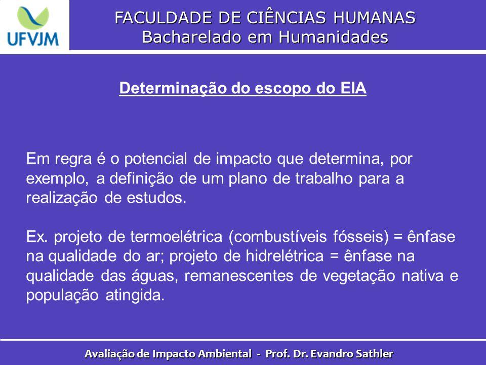 FACULDADE DE CIÊNCIAS HUMANAS Bacharelado em Humanidades Avaliação de Impacto Ambiental - Prof. Dr. Evandro Sathler Determinação do escopo do EIA Em r