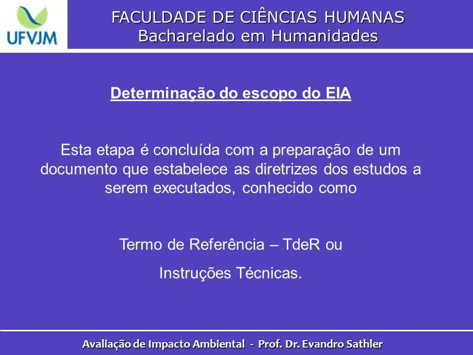 FACULDADE DE CIÊNCIAS HUMANAS Bacharelado em Humanidades Avaliação de Impacto Ambiental - Prof. Dr. Evandro Sathler Determinação do escopo do EIA Esta