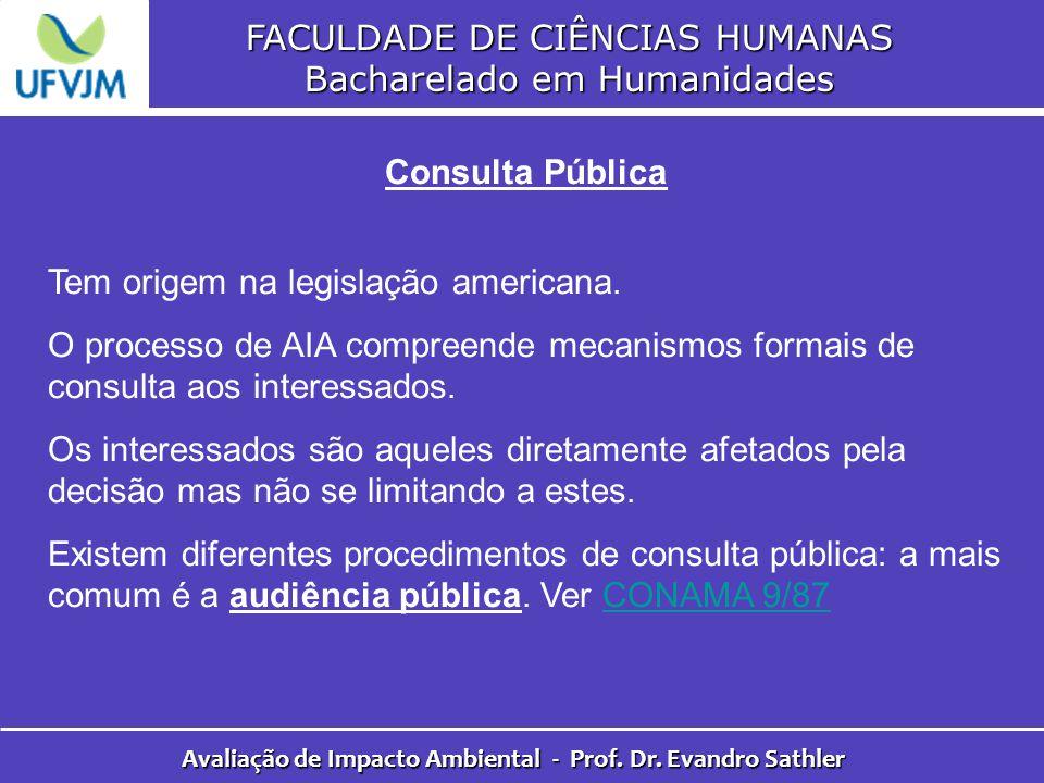 FACULDADE DE CIÊNCIAS HUMANAS Bacharelado em Humanidades Avaliação de Impacto Ambiental - Prof. Dr. Evandro Sathler Consulta Pública Tem origem na leg