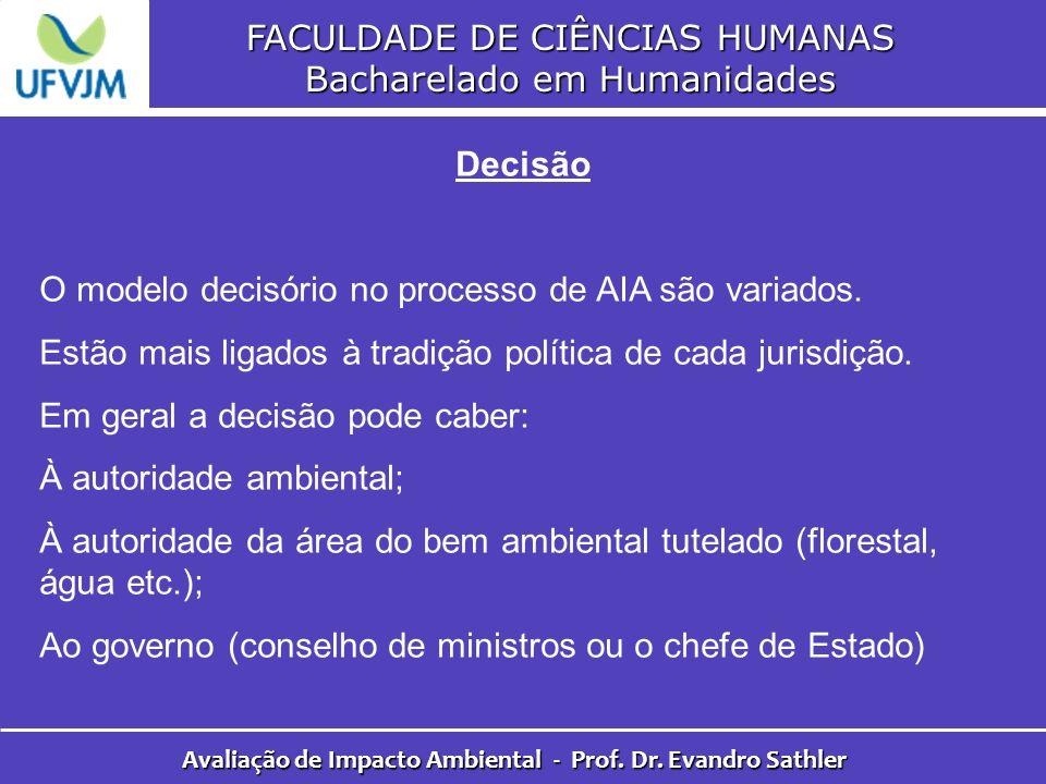 FACULDADE DE CIÊNCIAS HUMANAS Bacharelado em Humanidades Avaliação de Impacto Ambiental - Prof. Dr. Evandro Sathler Decisão O modelo decisório no proc