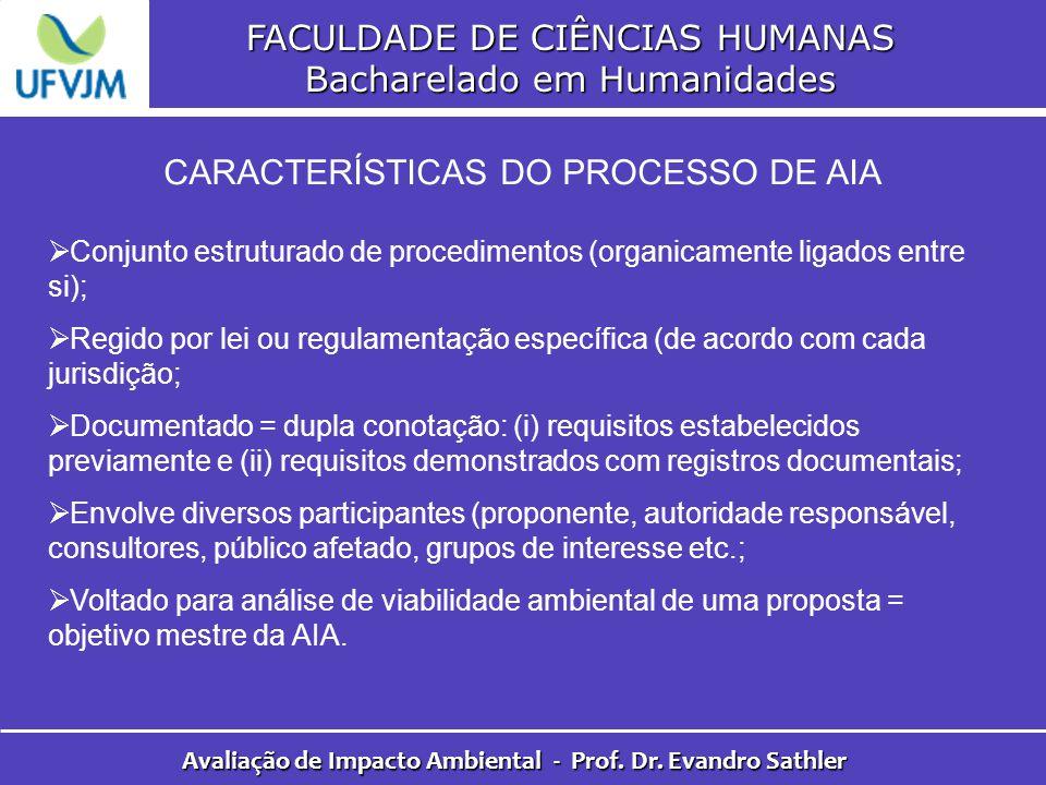 FACULDADE DE CIÊNCIAS HUMANAS Bacharelado em Humanidades Avaliação de Impacto Ambiental - Prof. Dr. Evandro Sathler CARACTERÍSTICAS DO PROCESSO DE AIA
