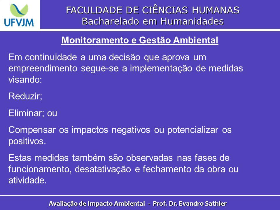 FACULDADE DE CIÊNCIAS HUMANAS Bacharelado em Humanidades Avaliação de Impacto Ambiental - Prof. Dr. Evandro Sathler Monitoramento e Gestão Ambiental E