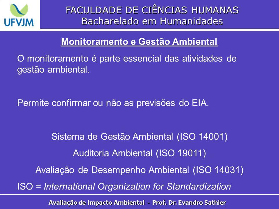 FACULDADE DE CIÊNCIAS HUMANAS Bacharelado em Humanidades Avaliação de Impacto Ambiental - Prof. Dr. Evandro Sathler Monitoramento e Gestão Ambiental O