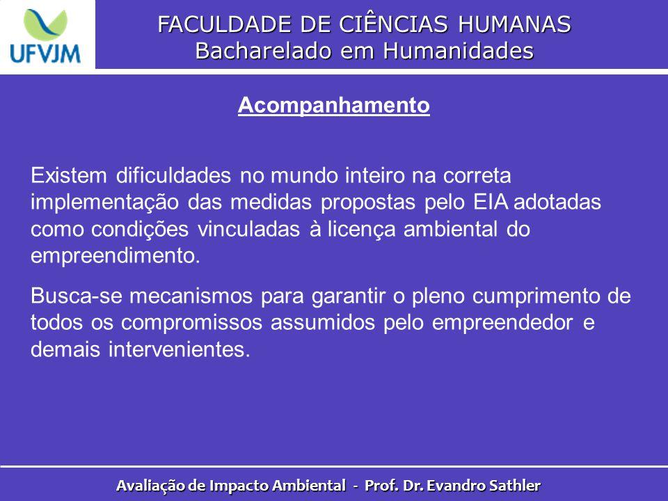 FACULDADE DE CIÊNCIAS HUMANAS Bacharelado em Humanidades Avaliação de Impacto Ambiental - Prof. Dr. Evandro Sathler Acompanhamento Existem dificuldade