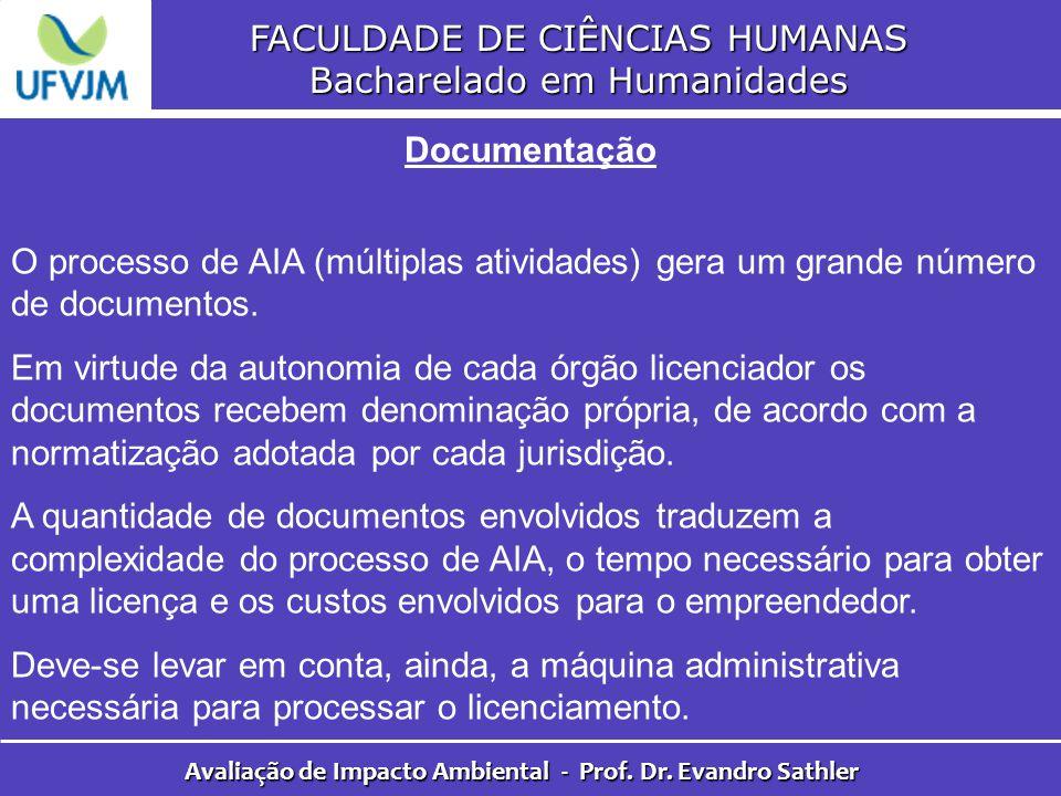 FACULDADE DE CIÊNCIAS HUMANAS Bacharelado em Humanidades Avaliação de Impacto Ambiental - Prof. Dr. Evandro Sathler Documentação O processo de AIA (mú