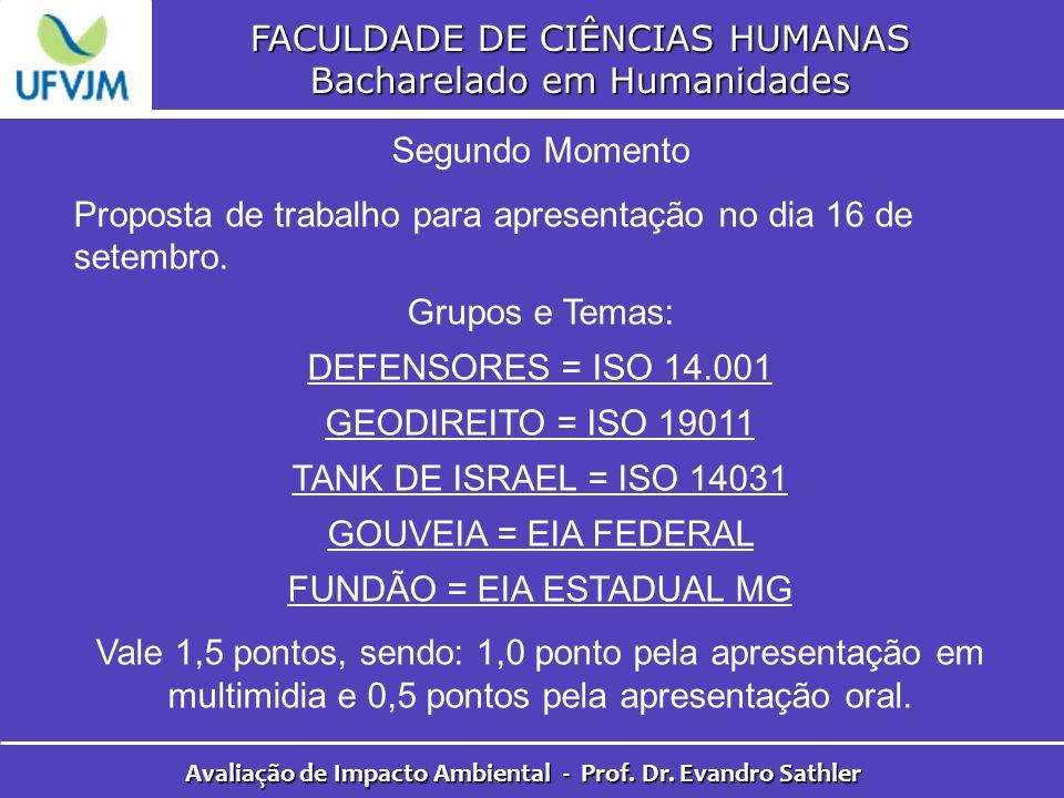 FACULDADE DE CIÊNCIAS HUMANAS Bacharelado em Humanidades Avaliação de Impacto Ambiental - Prof. Dr. Evandro Sathler Segundo Momento Proposta de trabal