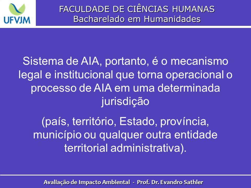 FACULDADE DE CIÊNCIAS HUMANAS Bacharelado em Humanidades Avaliação de Impacto Ambiental - Prof. Dr. Evandro Sathler Sistema de AIA, portanto, é o meca