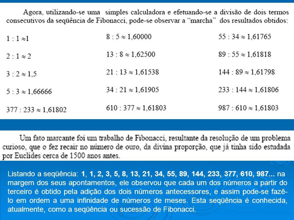 Listando a seqüência: 1, 1, 2, 3, 5, 8, 13, 21, 34, 55, 89, 144, 233, 377, 610, 987... na margem dos seus apontamentos, ele observou que cada um dos n