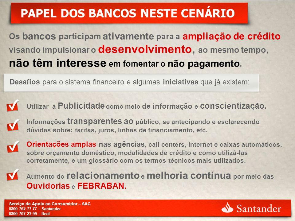 Serviço de Apoio ao Consumidor – SAC 0800 762 77 77 – Santander 0800 707 23 99 – Real PAPEL DOS BANCOS NESTE CENÁRIO Os bancos participam ativamente p
