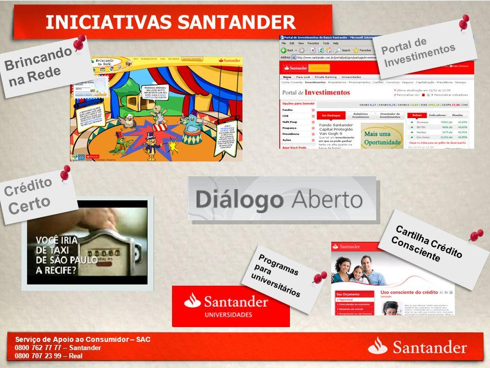 Serviço de Apoio ao Consumidor – SAC 0800 762 77 77 – Santander 0800 707 23 99 – Real INICIATIVAS SANTANDER Brincando na Rede Crédito Certo Programas