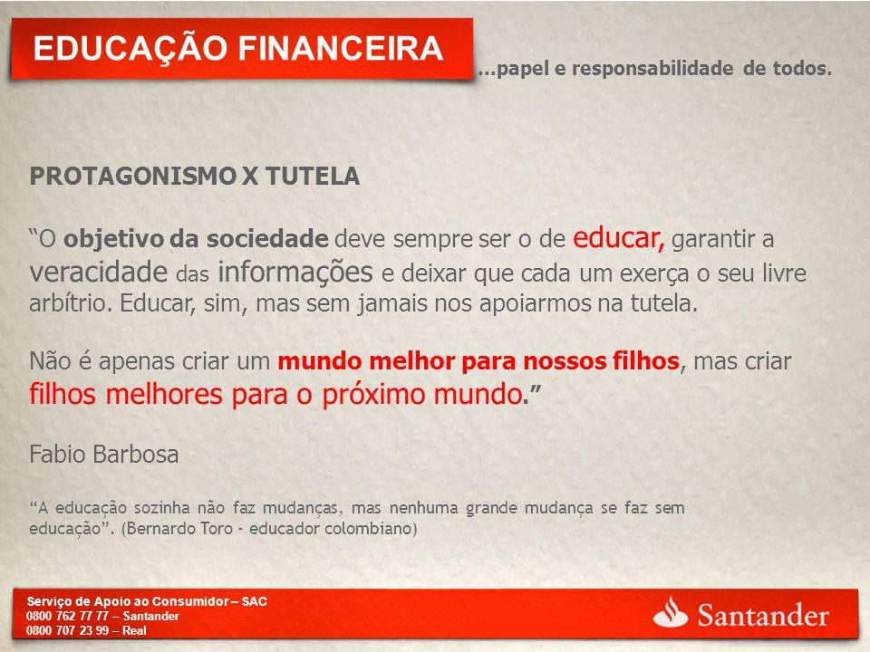 Serviço de Apoio ao Consumidor – SAC 0800 762 77 77 – Santander 0800 707 23 99 – Real EDUCAÇÃO FINANCEIRA...papel e responsabilidade de todos. PROTAGO