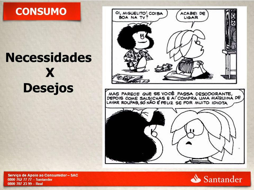Serviço de Apoio ao Consumidor – SAC 0800 762 77 77 – Santander 0800 707 23 99 – Real CONSUMO Necessidades X Desejos