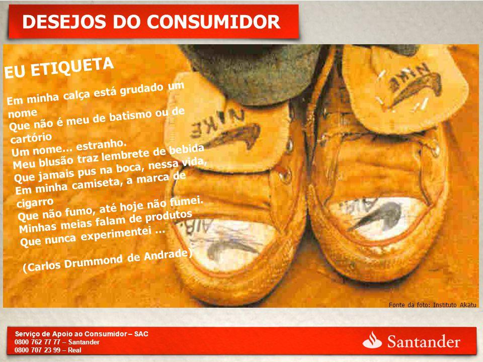 Serviço de Apoio ao Consumidor – SAC 0800 762 77 77 – Santander 0800 707 23 99 – Real DESEJOS DO CONSUMIDOR Fonte da foto: Instituto Akatu EU ETIQUETA