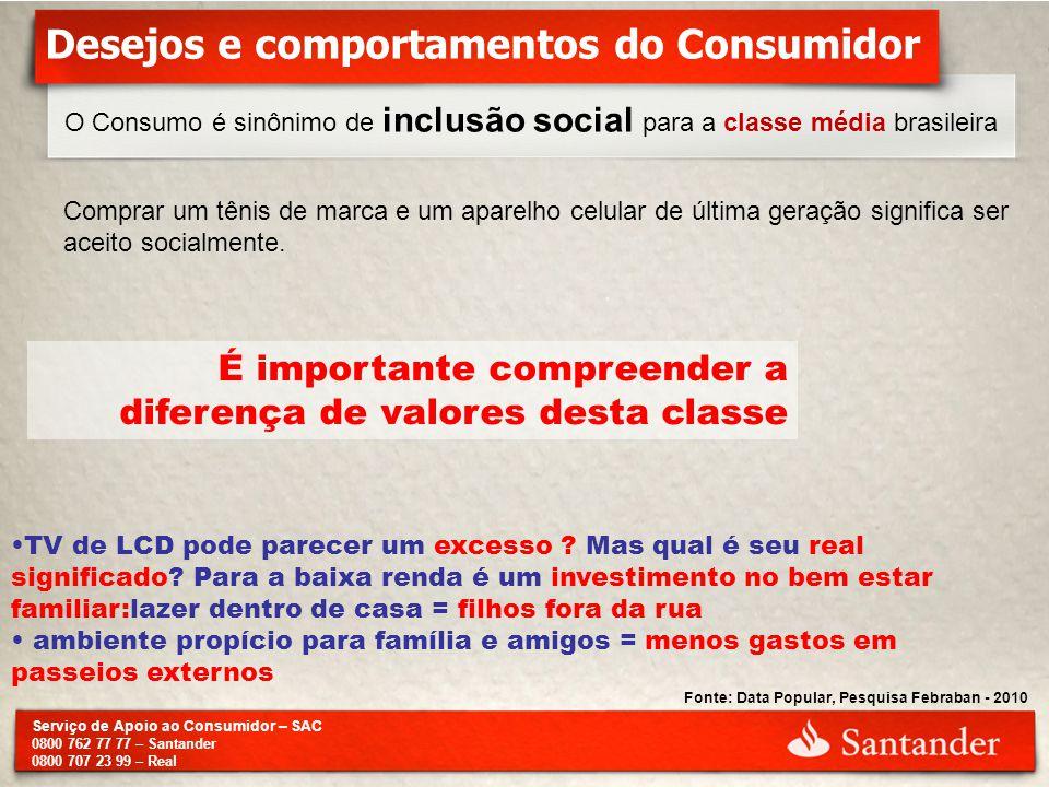 Serviço de Apoio ao Consumidor – SAC 0800 762 77 77 – Santander 0800 707 23 99 – Real O Consumo é sinônimo de inclusão social para a classe média bras