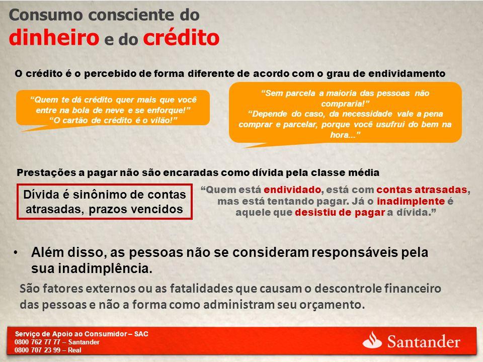 Serviço de Apoio ao Consumidor – SAC 0800 762 77 77 – Santander 0800 707 23 99 – Real Consumo consciente do dinheiro e do crédito O crédito é o perceb