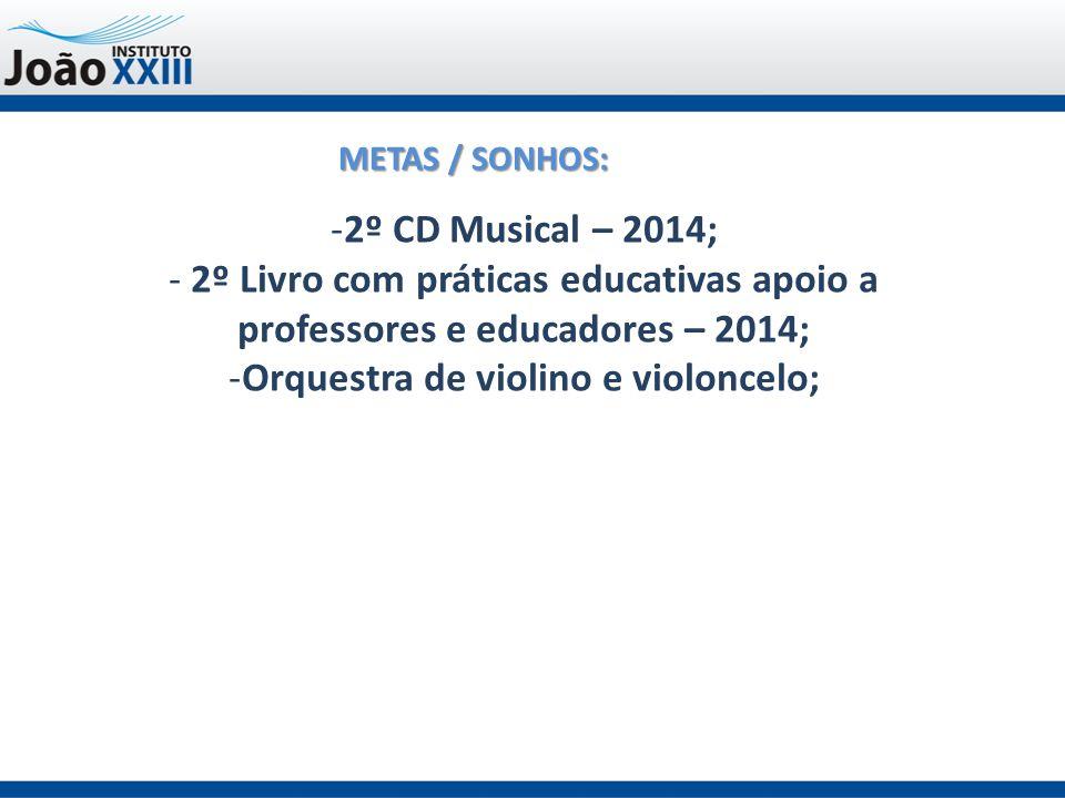 METAS / SONHOS: -2º CD Musical – 2014; - 2º Livro com práticas educativas apoio a professores e educadores – 2014; -Orquestra de violino e violoncelo;