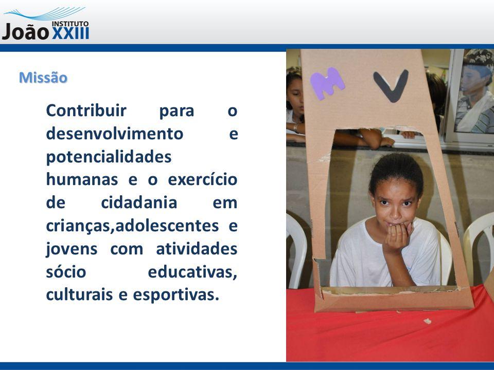 Missão Contribuir para o desenvolvimento e potencialidades humanas e o exercício de cidadania em crianças,adolescentes e jovens com atividades sócio educativas, culturais e esportivas.